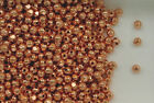 Copper Beads, 3mm Faceted Design, New