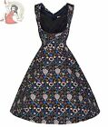 Clearance LINDY BOP 50's OPHELIA FLORAL DRESS DARK BLUE