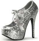 Silver Glitter Pinup Rockabilly Pleaser Bordello Teeze 10G Shoes Pinup Burlesque