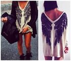 Causual Women Tee Long Sleeve Feathers Angel Wing Print Sweater V Neck Sweater