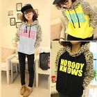Women Leopard Nobody Knows Letter Print Warm Coat Pullover Hoodie Sweetshirt