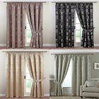 Fenella Floral Pair Of Tape Top Lined Curtains In Black, Duck Egg, Gold, Heather