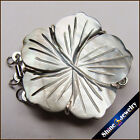 3 Strings Natural pearl shell Carving flower White Gold Plated Box Jewelry Clasp