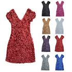 Lady Glitter Bling Sequins V-Neckline Sexy Bodycon Dress Cap Sleeve Embellished
