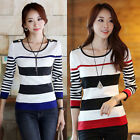 Women Long Sleeve Knit Pullover Jumper Slim Fit Sweater Knitwear Top plus XXS