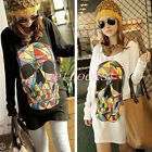 Korean Womens Skull Skeleton Loose Batwing Minidress Casual Shirt Blouse Tops UK