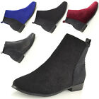 Womens Pull On Chelsea Flat Heel Elastic Stretch Booties Ladies Ankle Boots Size