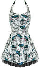 Hearts & Roses Bird Floral Print Cute Mini Dress Rockabilly Vintage Pinup Retro