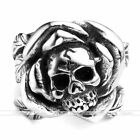 Mens Retro Stainless Steel Punk Rock Leaf Rose Flower Skull Finger Ring US8-13