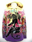 CRISTIAN AUDIGIER Panther FLOCKED HOODIE SHIRT NWT SATIN LINED Pink & Purple