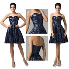 XMAS NAVY BLUE SEQUINS Bridesmaids Cocktail Evening Prom Homecoming SWING Dress
