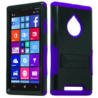 AT&T Nokia Lumia 830 Hybrid Silicone Rubber Skin KickStand Cover +Screen Guard