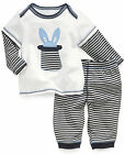Baby BOYS Toddler Kids cotton Long Sleeve Tops White T-shirt pants Set Outfits