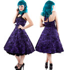 Purple Tattoo Flocked Halter Dress Rockabilly 50's Swing Pinup Hearts & Roses