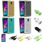 Silk TPU Gel Case+3ft Cord+Mini DC Charger+SP For Samsung Galaxy Note 4 N910
