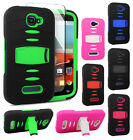 For Alcatel ONETOUCH Fierce 2 RUGGED Hard Gel Rubber Case Phone Cover Kickstand