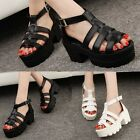 WOMENS LADIES CHUNKY SOLE GLADIATOR SUMMER BLOCK PLATFORM SANDALS SHOES SIZE