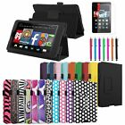 For 2014 Amazon Kindle Fire HD 6 tablet Folio Leather Case Cover Stand +Film/Pen