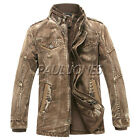YOUNG RICH Men Winter Milltary Thicken Coat Cowboys Trench Jacket Overcoat Parka