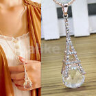 Fashion Women Paris Eiffel Tower Crystal Rhinestone Ball Pendant Long Necklace