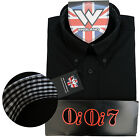 Warrior OiOi7 Short Sleeve Button Down Shirt AURIC Mod Skinhead Black Ska Collar