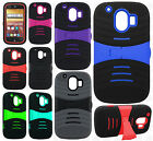 AT&T ZTE Compel Z830 HYBRID Hard Gel Rubber KICKSTAND Case + Screen Protector