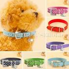 Adjustable Pet Cat Dog PU Leather Polka Dot Rhinestone Buckle Neck Strap Collar