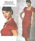 Misses Lined Straight Dress Sewing Pattern Sleeve Flower Neck Ruffle Vogue 1162