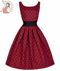 LINDY BOP 50's LANA POLKA DOT cotton blend DRESS RED & BLACK