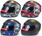 VIPER RS-44 SKULL FULL FACE MATT BLACK MOTORCYCLE  HELMET + OPTIONAL DARK VISOR