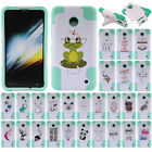 For AT&T Nokia Lumia 635 White/ Teal Advanced Hybrid Y Kickstand Case Cover