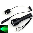 Tactical T6 CREE 300LM Green LED Hunting Flashlight+Pressure Switch+Torch Mount^