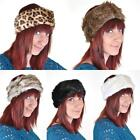 FAUX FUR HEADBAND Cosy Winter NEW Black Brown Leopard White Grey Vtg Hat