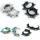Men's Stainless Steel Spike Hoop Huggie Earrings Ear Studs Punk Gothic Jewelry