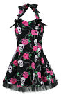 Black Pink Skulls Chains & Roses Dress H&R London 50's Rockabilly Punk Goth