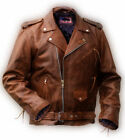 new genuine LEATHER JACKET classic 50´s Brando biker BROWN s m l xl Rockabilly