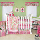 Baby Girl Cute Pink Green White Paisley Print Crib Nursery Quilt Bedding Bed Set