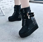 Punk Rock Spike Studded Womens Platofrm Lace Up Buckle Motor Ankle Riding Boots