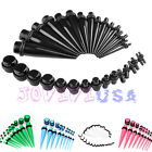 Set 36pcs Acrylic Tapers Plugs 14G-00G Double O-Rings Ear Gauges Stretching Kit