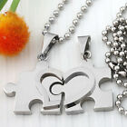 "Set Couple Stainless Steel Love Jigsaw Pendant Drop Necklace For Lovers 20""L"