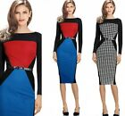 2015 Womens Colorblock Tunic Optical Illusion Business Work Party Pencil Dress