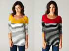 New  Women's TUA  3/4 Slv Button Detail Stripe Sweatshirt Blouse Made in  USA
