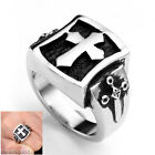 1pc Men Jewelry 316L Stainless Steel Shield Latin Cross Biker Finger Ring us9-12