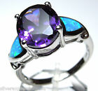 Amethyst and Blue Fire Opal Inlay Solid 925 Sterling Silver Ring size 7 or 8
