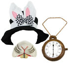 BLACK TOP HAT WITH BUNNY EARS WHITE RABBIT KIT FANCY DRESS COSTUME ACCESSORY SET