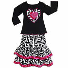 AnnLoren Girls Geometric Valentine's Day Pink Heart Clothing Outfit 2/3t - 9/10