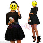 Sexy Womens Lady Black Floral Lace Embroidered Long Sleeve Cocktail Mini Dress