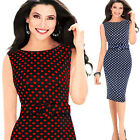 Hot Vintage Style OL Rockabilly Belted Sleeveless Dots Pencil Evening Prom Dress