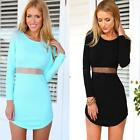 Sexy Women Lady Long Sleeve Cocktail Party Stretch Bodycon Short Slim Mini Dress