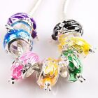 Popular Colorful Enamel Carve Flower Rabbit Round Alloy Europe Bead For Bracelet